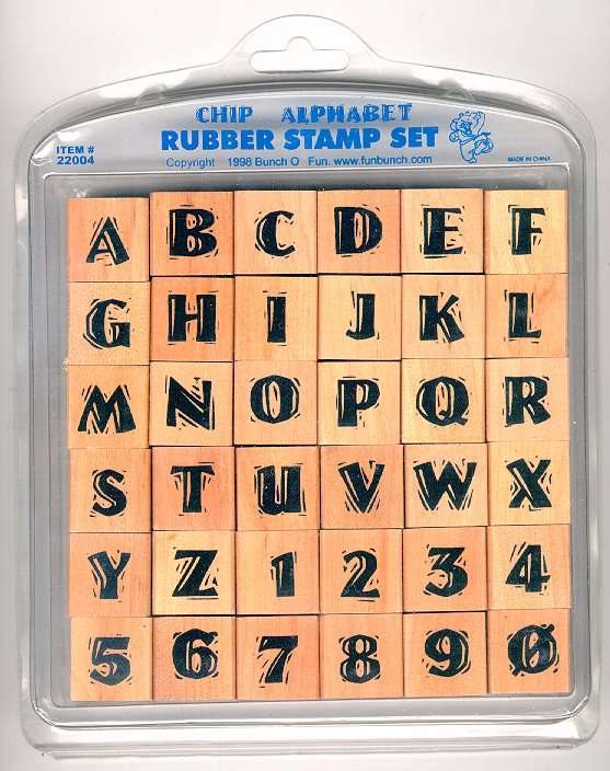 Chip rubber stamp alphabet set stamps