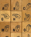 ASL Sign language alphabet rubber stamp set
