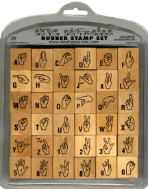 Sign language deaf ASL rubber stamp alphabet set